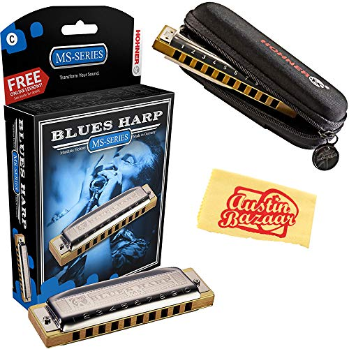 Hohner Accordions 532 Blues Harp MS Harmonica - Key of C Bundle with Carrying Case, Polishing Cloth