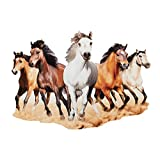 Collections Etc Majestic Horses Metal Wall Art Indoor Home Décor, Wild Galloping 5 Horses