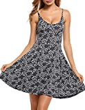 ACEVOG Women''s Casual Fit and Flare Floral Shoulder Strap Skater Dress,Grey,X-Large