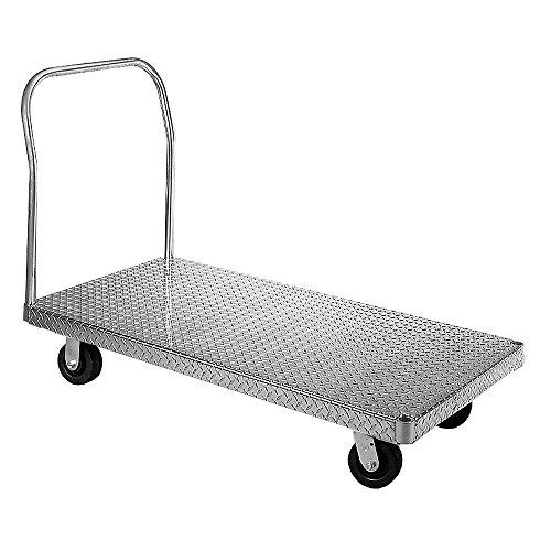 Wesco-350090-Treadplate-Model-Aluminum-Platform-Truck-Polyolefin-Wheels-2000-lb-Load-Capacity-40-12-Handle-Height-48-x-24
