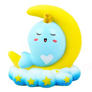 Adeeing Soft Moon Whales Squishy Slow Rising Squeeze Fun Toy