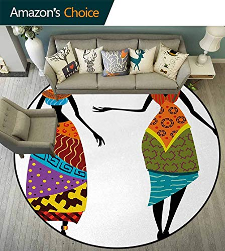 African Woman Round Area Rugs Bedroom,Tribal Ladies In Traditional Costume Silhouettes Ethnicity Vintage Display Lifts Basket Swivel Chair Pad Coffee Table Rug Diameter-35 Inch,Multicolor