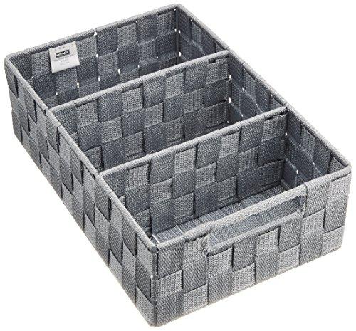 WENKO 21532100 Organizer Adria mit Griff Grau - Badorganizer, 100 % Polypropylen, 32 x 10 x 21 cm, Grau