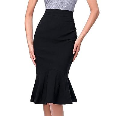617f4d461f06 Skirts Womens Bodycon Midi Skirt Elegant Ruffles Pencil Mermaid Skirts  Party Black
