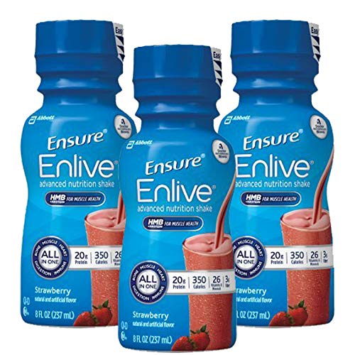 Count of 72 Ensure Enlive Strawberry Oral Supplement 8 oz Bottle *3 CASE Special*