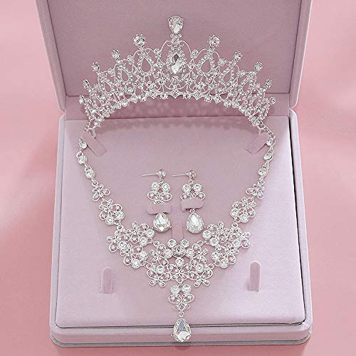 Penxina Bridal Jewelry Set - Bride Crystal Rhinestone Hair Accessories Tiaras Crown Earrings Necklace Sets for Wedding Prom Party (A)