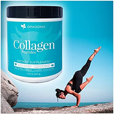 Oragonix Collagen Peptides Powder Grass-Fed Blend with Turmeric Ginger Glucosamine and Vitamin C