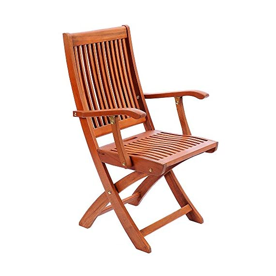 Achla Designs Eucalyptus Wood Indoor Outdoor Folding Chair with Arms - 22-inch w by 23-inch d by 37-inch h Natural oil finish Crafted from sustainably harvested hardwood - patio-furniture, patio-chairs, patio - 51ce5ukNQML. SS570  -