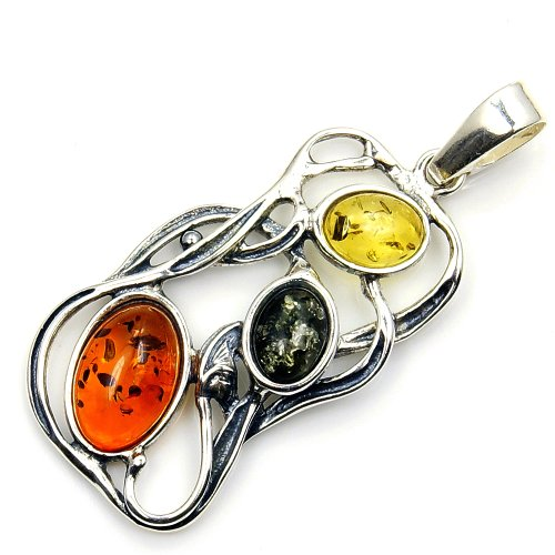 Gorgeous Sterling Silver Multicolor Natural Baltic Amber Pendant