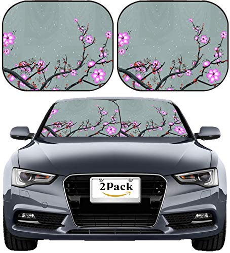 (MSD Car Sun Shade Windshield Sunshade Universal Fit 2 Pack, Block Sun Glare, UV and Heat, Protect Car Interior, Image ID: 19581658 Chinese Painting Flower)