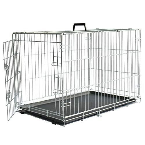 LEMKA Folding Dog Crate,Single Door Galvanized [Never Paint Off] Dog Crate Floor Protecting Feet &Leak-Proof Dog Tray Compact & Foldable Dog Wire Crate for Large Dogs 36