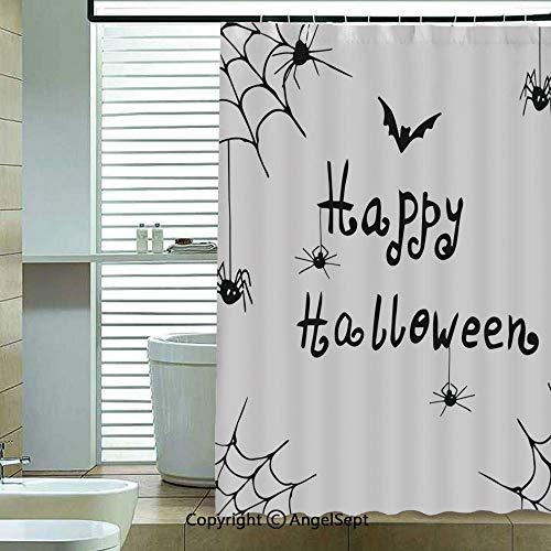 Shower Curtain,Happy-Halloween-Celebration-Monochrome-Hand-Drawn-Style-Creepy-Doodle-Artwork,70.8x72 inch,Bathroom Decor,Black-White]()