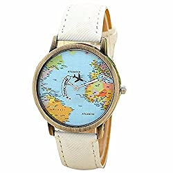 Fitfulvan Casual design Women Dress wrist Watch New Global Travel By Plane Map Quartz Watch WH