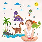 Dinosaurs Paradise Tree Animals Butterflies Wall Sticker Decal Home Paper PVC Murals House Wallpaper Bedroom Kids Babys Living Room Art Picture Decoration