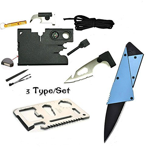Medium Multi Tool (Credit Card Multitool Pocket Tool Kit Wallet Tool with Upgrade 18-IN-1 Credit Card Tool,11-IN-1 EDC Multitool Card,Folding Card Knife By I-LIFE (3 Kinds / set EDC Knife))