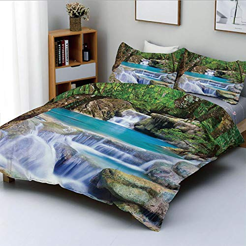 (Duplex Print Duvet Cover Set King Size,Fairy Image of Asian Waterfall by The Rocks in Forest Secret Paradise DecorativeDecorative 3 Piece Bedding Set with 2 Pillow Sham,Green Blue Borwn,Best Gift)