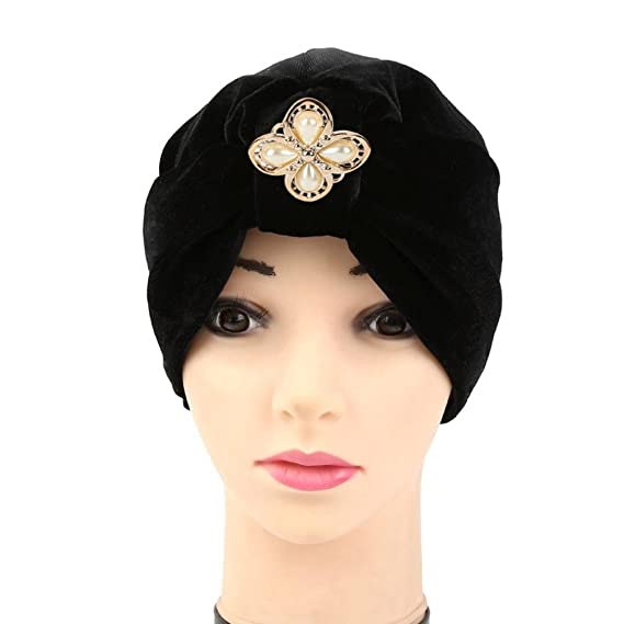 6fc0f4cc5ba41 Dreamyth Women s Velvet Diamonds Muslim Ruffle Cancer Chemo Hat Beanie  Scarf Turban Head Wrap Cap Hat Circumference  56-58cm Black  Amazon.in   Clothing   ...