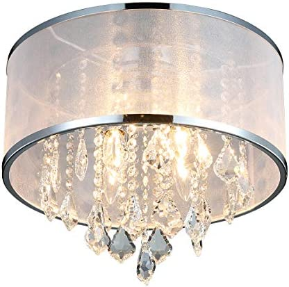 ANJIADENGSHI Modern Drum Cylinder Shape Fabric Shade Chandelier, Crystal Flush Mount Ceiling Light with 4 Lights for Dining Room Bedroom Livingroom Foyer D15.7 x H14