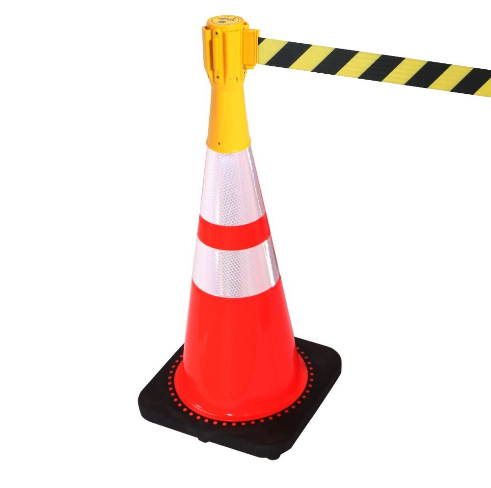 Traffic Cone Retractable Belt Barrier - Yellow Trade Shop Direct