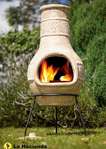 Clay Chimenea Chiminea - Terracotta Star Flower - Patio Heaters - 85cm tall, Including Stand And Lid