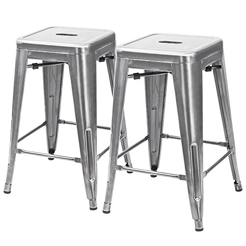 Furmax 24'' High Metal Stools Backless Silver Metal Bar Stools Indoor-Outdoor Use Counter Height Stackable Bar Stools(2 pack) (Stools For Kitchen Bar)