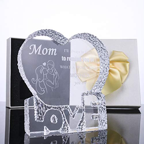 H&D Crystal Glass Trophy Award Souvenir Glass Paperweight :Mom,I'll Always be here to Remind You of What a Wonderful Mother You are