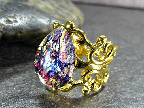 14k Gold Plated Filigree (Purple Simulated Opal Ring with 14K Gold Plated Filigree Adjustable)