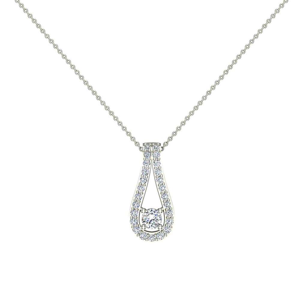 0.46 ct Teardrop Halo Diamond Pendant 14K White Gold (P0202)