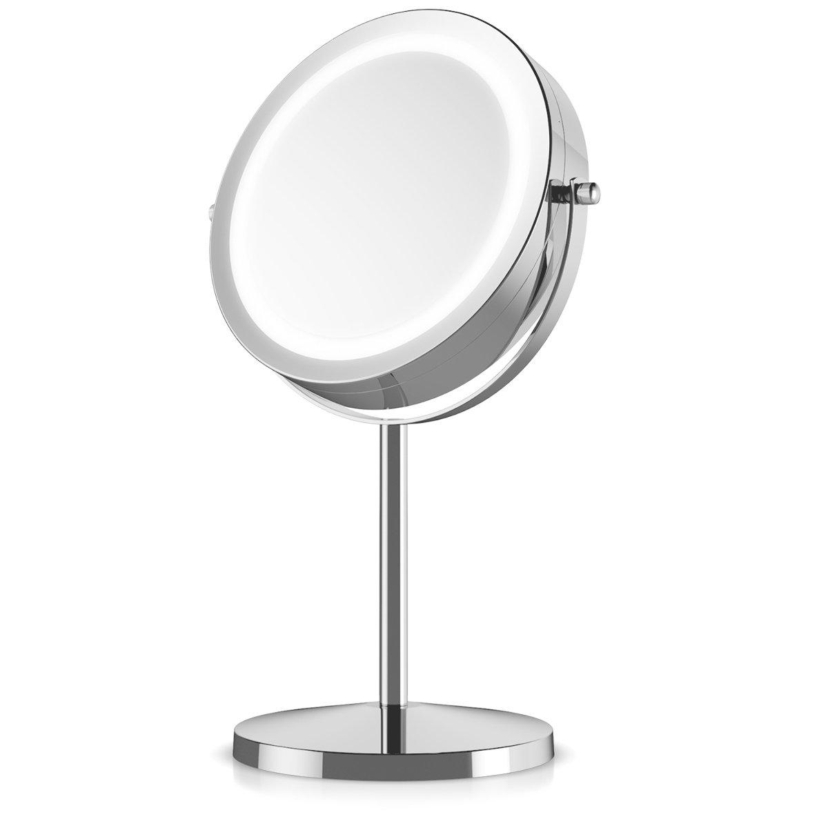 Miroir /à pied normal et grossissant x5 Miroir rond lumineux salle de bain pour maquillage Navaris Miroir cosm/étique lumi/ère LED Rotatif 360/°