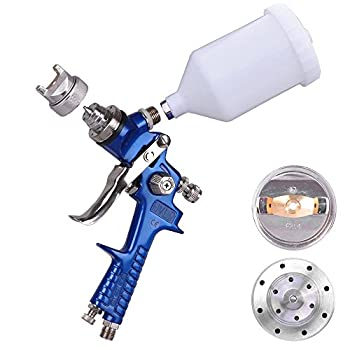 2 Pro Spray Guns Stainless Steel 1.4mm & 1.0mm Needles Nozzles HVLP Sprayers Blue Kit Auto Paint Primer Gravity Feed 30-80 PSI w/ Air Regulator with Gauge Drier Cups Carrying Case Complete Set