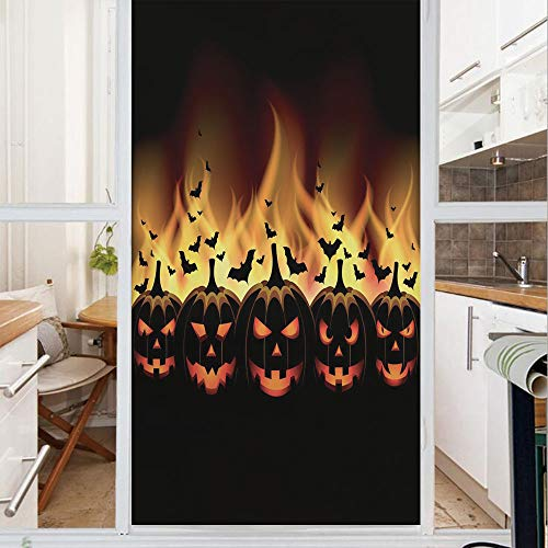 Decorative Window Film,No Glue Frosted Privacy Film,Stained Glass Door Film,Happy Halloween Image with Jack o Lanterns on Fire with Bats Holiday Decorative,for Home & Office,23.6In. by 35.4In Black Sc]()