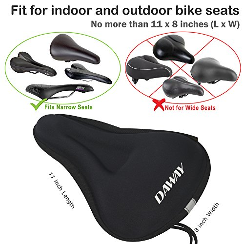 DAWAY Comfortable Bike Seat Cover - C7 Soft Gel & Foam Padded Exercise Bicycle Saddle Cushion Men Women Kids, Fit Spin Class, Stationary Bike, Mountain Road Bikes, Outdoor Cycling, 1 Year Warranty by DAWAY (Image #4)