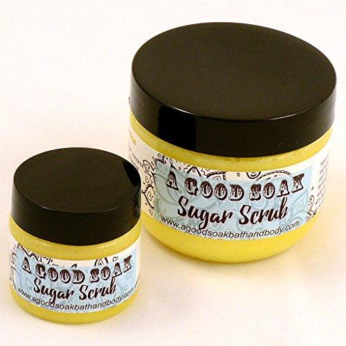 Natural Exfoliating Body Scrub to Soften and Hydrate Skin - LEMON Essential Oil, 4 oz Clear Jar by A Good Soak Bath and Body (Soak Sugar Bath)