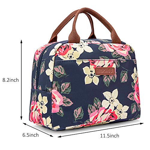 LOKASS Lunch Bag Cooler Bag Women Tote Bag Insulated Lunch Box Water-resistant Thermal Lunch Bag Soft Leak Proof Liner Lunch Bags for women/Picnic/Boating/Beach/Fishing/School/Work (Peony) by LOKASS (Image #4)