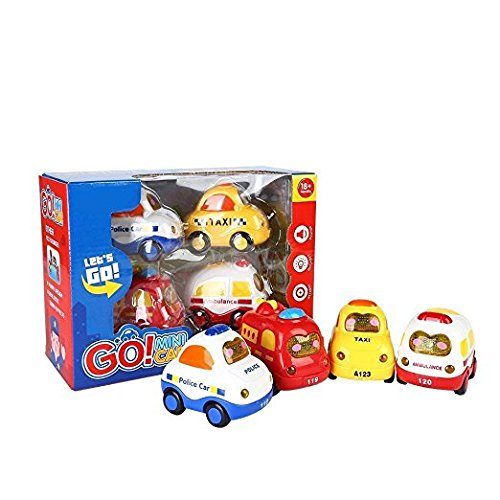 SainSmart Jr. Friction Car Push and Go Car Mini Powered Play Vehicles with Screen Button for Light and Music (Set of 4)