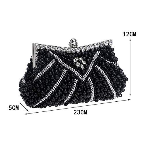 Banquet Bag Dress Dinner Pearl Bag Bag Black Evening Ladies GROSSARTIG Hand YSpZwxp