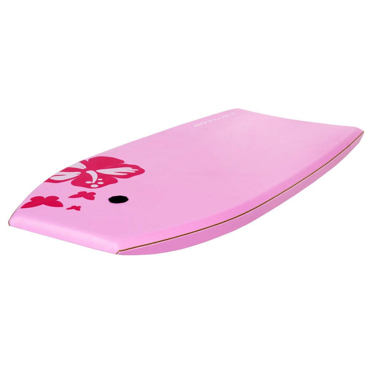 oldzon Bodyboard Surfing 41'' Lightweight Super w/Leash EPS Core Boarding Pink with Ebook