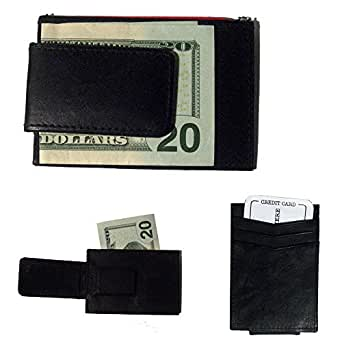 Leather Money Clip & Credit Card Holder - Style 1010R Black