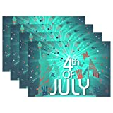 Top Carpenter 4pcs 4Th of July America Placemat - 12x18in - Washable Heat Crease Resistant Printed Place Mat for Kitchen Dinner Table