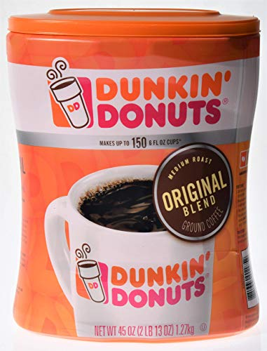 Dunkin' Donuts Original Ground Coffee, 45 oz – Makes up to 150 6 fl oz cups, 2 Pack