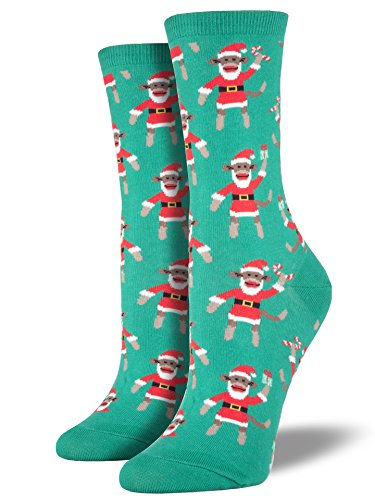 Socksmith Women's Santa Monkey Crew Socks, Green,