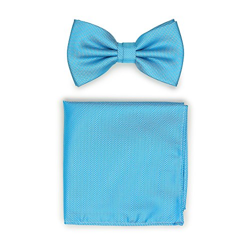 - Bows-N-Ties Men's Pre-Tied Solid Bow Tie and Pocket Square Set Matte Micro-Texture Finish (Cyan)