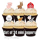 24 Cupcake Toppers Mini FARM ANIMAL Birthday Party Cake Decorations