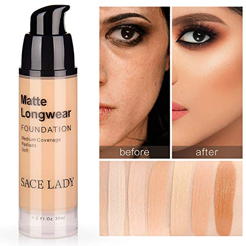 SACE LADY Matte Finish Liquid Foundation, Waterproof Ultra-HD Flawless Fluid Foundation 0.40Fl Oz (Light Natural 30ml)