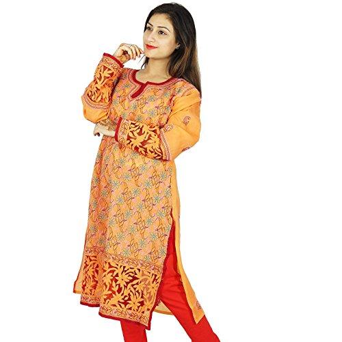 Bollywood Kurta indio mujeres vestido de la túnica bordada Chikan étnico Kurti algodón Naranja y rojo