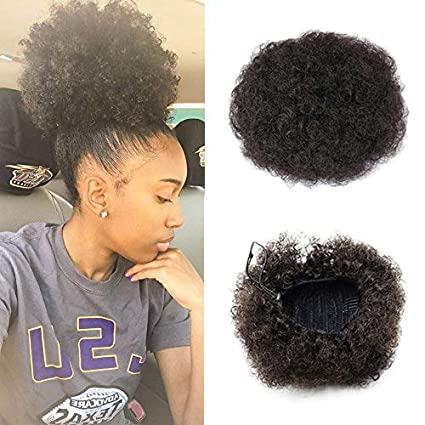 Vgte Beauty Synthetic Curly Hair Ponytail African American Short Afro Kinky Curly Wrap Synthetic Drawstring Puff Ponytail Hair Extensions Wig With