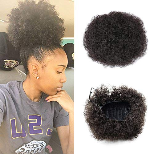 - VGTE Beauty Synthetic Curly Hair Ponytail African American Short Afro Kinky Curly Wrap Synthetic Drawstring Puff Ponytail Hair Extensions Wig with Clips (#2,Medium)