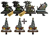 Lulu Decor, 100% cast iron combo deal of 7 Christmas Stocking Holders, Beautiful design of santa on sleigh with 3 deer and 3 christmas trees on bark style base, solid hooks, each weighs 3 lb (CODTG3)