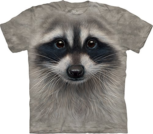 The Mountain Raccoon Face T-Shirt, XX-Large, Gray