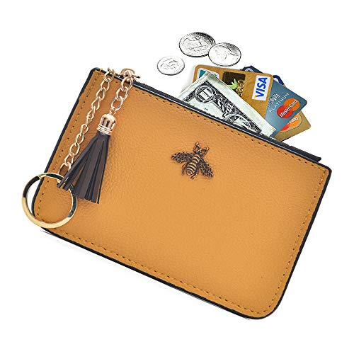 AnnabelZ Coin Purse Change Wallet Pouch Leather Card Holder with Key Chain Tassel Zip(Yellow)